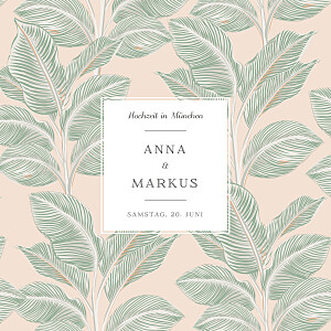 Hochzeitseinladungen grün calathea (klappkarte) rosa