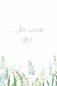 Geburtstagseinladungen ohne foto sommerwiese grün