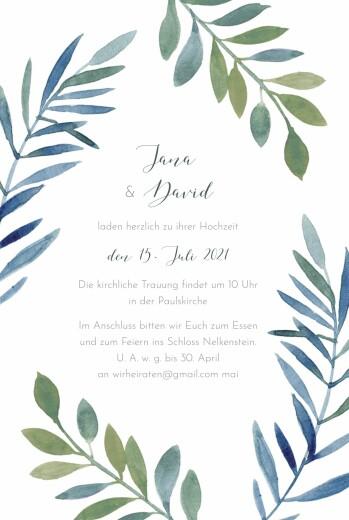Hochzeitseinladungen Zweige aquarell blau