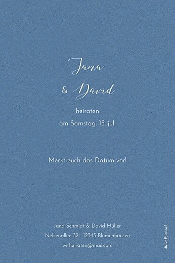 Save-the-Date Karten Zweige aquarell blau - Seite 2