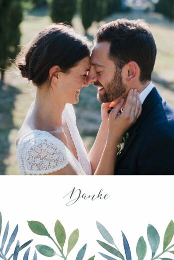 Dankeskarten Hochzeit Zweige aquarell weiß
