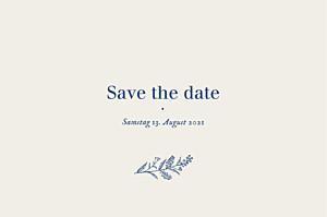 Save-the-date karten ohne foto naturnah blau