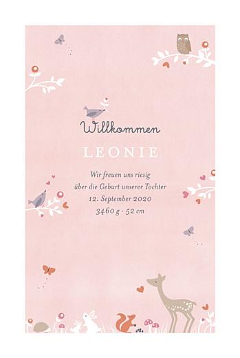Geburtskarten Märchenwald rosa