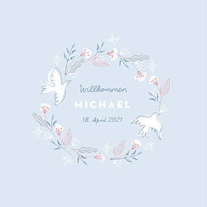 Geburtskarten violett freudenflug blau
