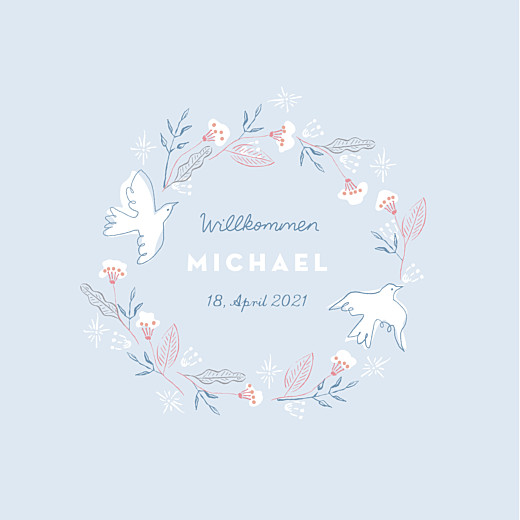 Geburtskarten Freudenflug blau