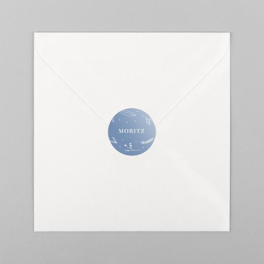 Aufkleber Taufe Liebliches blattwerk blau - Ansicht 1