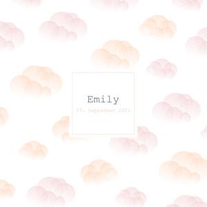 Geburtskarten rosa wölkchen (gold) rosa