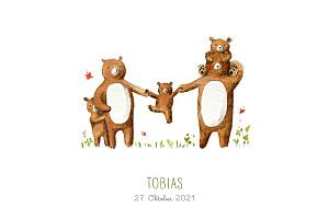 Geburtskarten 5 bären weiß