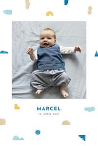 Geburtskarten gelb glücksbringer blau