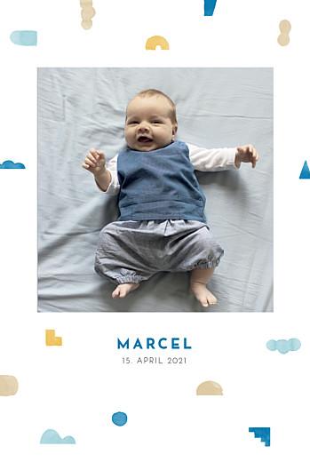 Geburtskarten Glücksbringer blau
