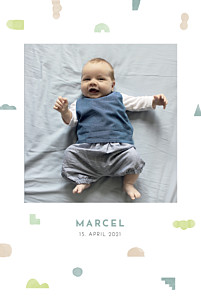 Geburtskarten blau glücksbringer zartgrün