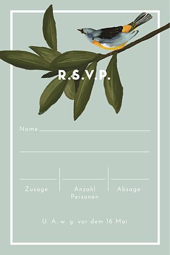 Antwortkarte Hochzeit Bahia hoch blau