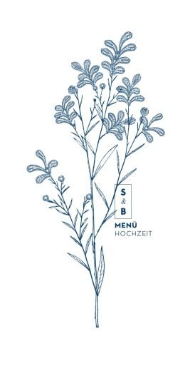 Menükarte Laure de sagazan (klappkarte) blau