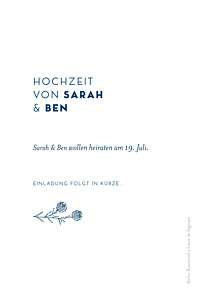 Save-the-date karten ohne foto laure de sagazan blau