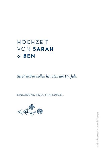 Save-the-Date Karten Laure de sagazan blau finition
