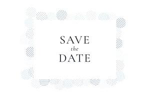 Save-the-date karten ohne foto pailletten blau