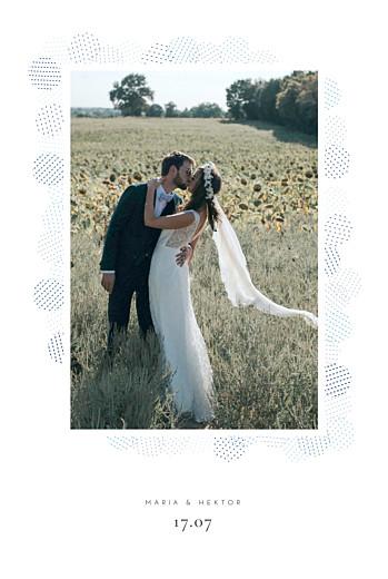 Dankeskarten Hochzeit Pailletten blau