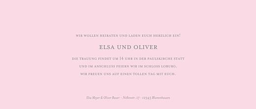 Hochzeitseinladungen Klassisch (panorama) rosa