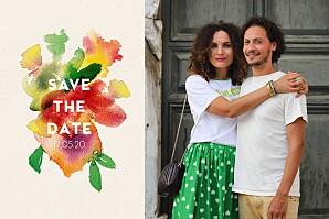 Save-the-date karten mit foto bloom beige