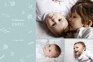 Geburtskarten mädchen liebliches blattwerk 3 fotos grün