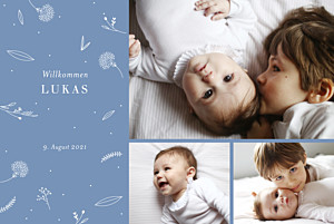 Geburtskarten blau liebliches blattwerk 3 fotos blau