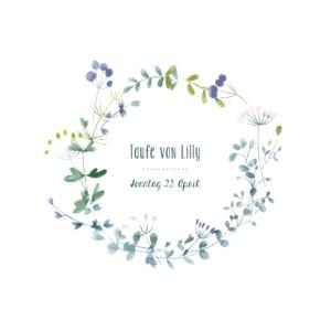 Taufeinladung Wildblumen violett