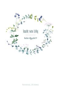 Menükarten taufe wildblumen violett