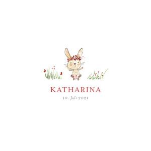Geburtskarten rot hasenohr (1 kind) mädchen
