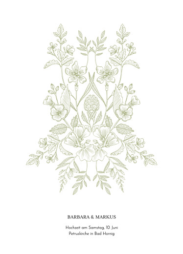Kirchenheft Hochzeit Blütenspiegelung grün