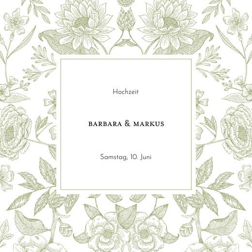 Hochzeitseinladungen Blütenspiegelung klappkarte grün
