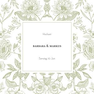 Hochzeitseinladungen grau blütenspiegelung grün