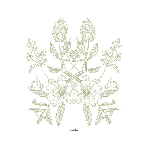 Dankeskarten Hochzeit Blütenspiegelung grün