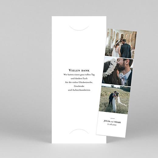 Dankeskarten Hochzeit Essenziell (fotostreifen) weiß - Ansicht 1