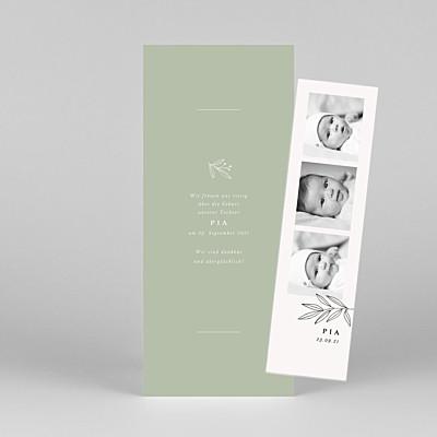 Geburtskarten kleiner sprössling (fotostreifen) grün