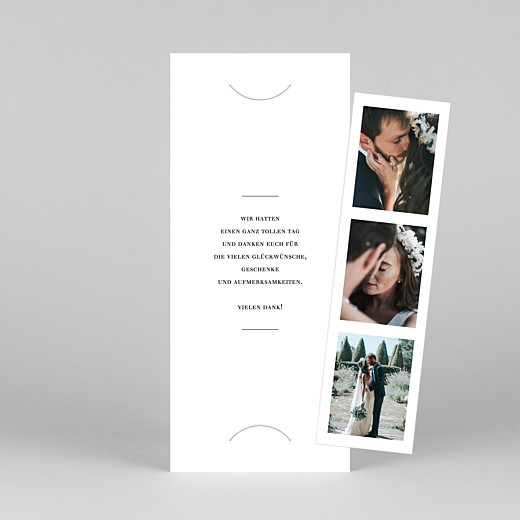 Dankeskarten Hochzeit Stilvoll modern (fotostreifen) weiß - Ansicht 1
