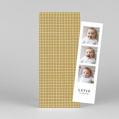 Geburtskarten gelb karo (fotostreifen) gelb