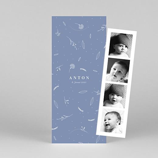 Geburtskarten Liebliches blattwerk (fotostreifen) blau - Ansicht 1