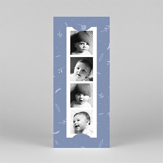 Geburtskarten Liebliches blattwerk (fotostreifen) blau - Ansicht 2