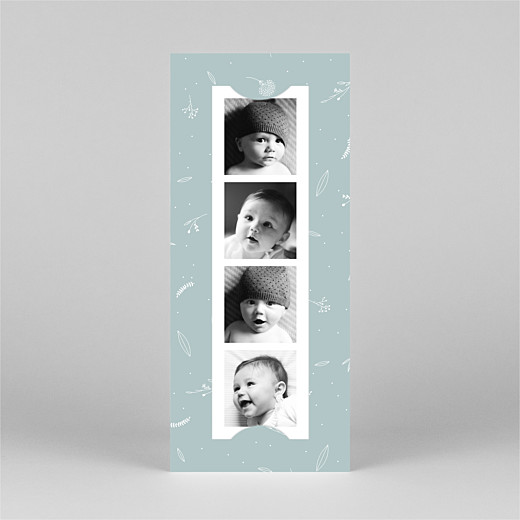 Geburtskarten Liebliches blattwerk (fotostreifen) grün - Ansicht 2