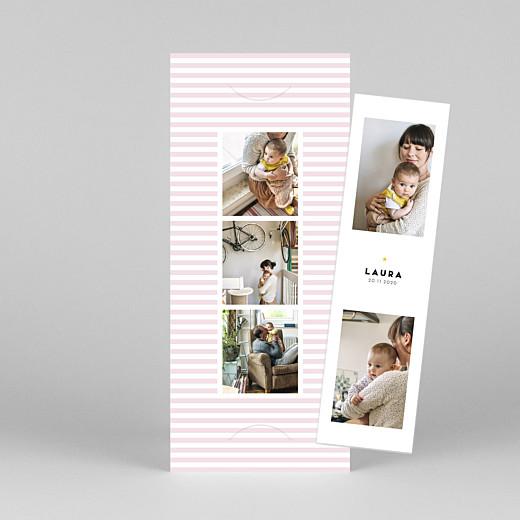 Geburtskarten Pastellstreifen (fotostreifen) rosa - Ansicht 1