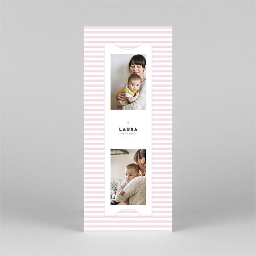 Geburtskarten Pastellstreifen (fotostreifen) rosa - Ansicht 2