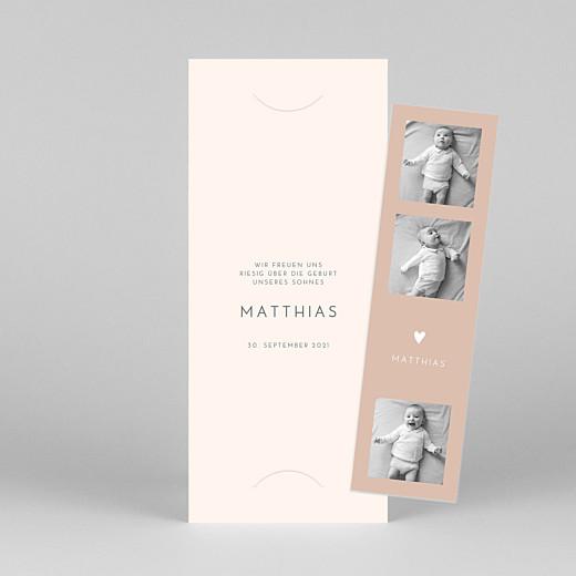 Geburtskarten Elegant herz (fotostreifen) rosa - Ansicht 1