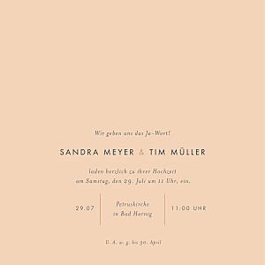 Hochzeitseinladungen orange liebesbotschaft (gold) rosa