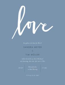 Hochzeitseinladungen Liebesbotschaft portrait blau
