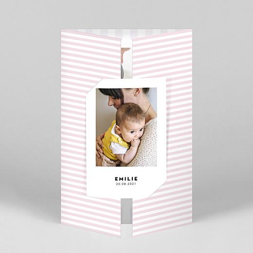 Geburtskarten Pastellstreifen (duo hoch) rosa - Ansicht 1