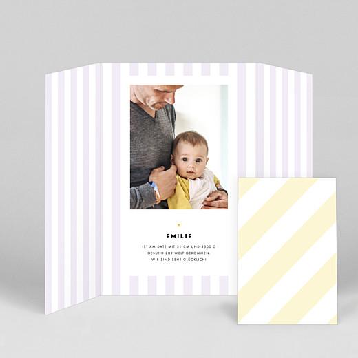 Geburtskarten Pastellstreifen (duo hoch) rosa - Ansicht 2
