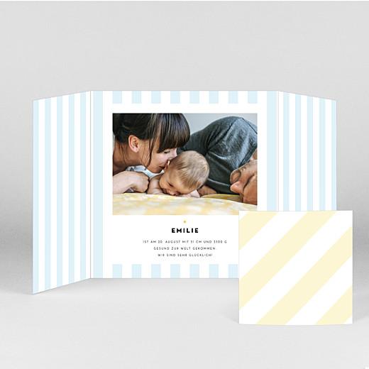 Geburtskarten Pastellstreifen (duo) blau - Ansicht 2