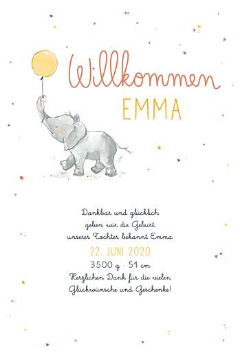 Geburtskarten Kleiner elefant gelb
