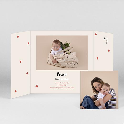 Geburtskarten Bisou by mathilde cabanas (duo) rot - Ansicht 2