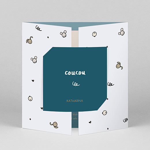 Geburtskarten Coucou by mathilde cabanas (duo) blau - Ansicht 1
